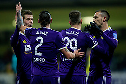 Players of Maribor celebrate during football match between NK Domzale and NK Maribior in 18th Round of Prva liga Telekom Slovenije 2018/19, on November 11, 2018 in Sportni Park, Domzale, Slovenia. Photo by Vid Ponikvar / Sportida