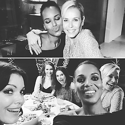 """Kerry Washington releases a photo on Instagram with the following caption: """"About last night. Amazing dinner with @chelseahandler and my #scandal sisters. Good times. Great girlfriends. Yummy grub. And we MIGHT have filmed it too. So get ready! \ud83d\ude0d"""". Photo Credit: Instagram *** No USA Distribution *** For Editorial Use Only *** Not to be Published in Books or Photo Books ***  Please note: Fees charged by the agency are for the agency's services only, and do not, nor are they intended to, convey to the user any ownership of Copyright or License in the material. The agency does not claim any ownership including but not limited to Copyright or License in the attached material. By publishing this material you expressly agree to indemnify and to hold the agency and its directors, shareholders and employees harmless from any loss, claims, damages, demands, expenses (including legal fees), or any causes of action or allegation against the agency arising out of or connected in any way with publication of the material."""