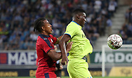 Jules Kounde (Bordeaux) and Taiwo Awoniyi (Gent) fight for the ball during the first leg of the Uefa Europa League play-off match between Kaa Gent and Girondins de Bordeaux on August 23, 2018 in Ghent, Belgium, Photo Vincent Van Doornick / Isosport / Pro Shots / ProSportsImages / DPPI