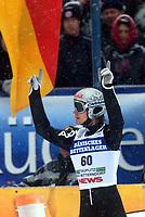 Bad Mittendorf-Kulm/2003-02-02/ Skiflygning Word Cup. <br />SVEN HANAWALD 1 plass (GER)<br />Foto Calle Tšrnstršm