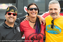 Custom builder and painter Jody Perewitz with friends at the Flying Piston Builder Breakfast at the Buffalo Chip during the 78th annual Sturgis Motorcycle Rally. Sturgis, SD. USA. Sunday August 5, 2018. Photography ©2018 Michael Lichter.