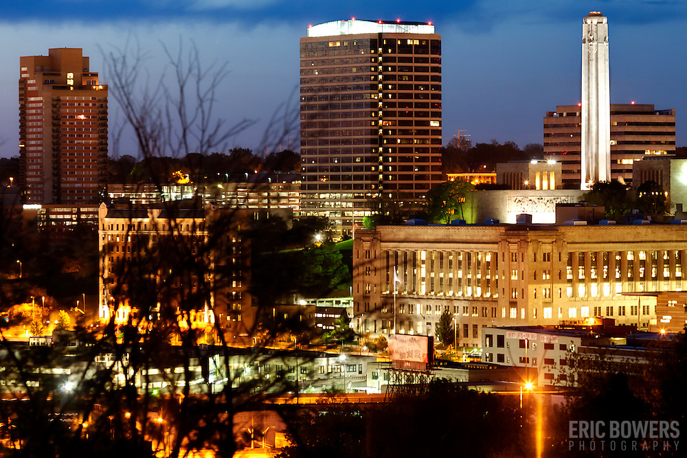 Downtown Kansas City's Crown Center and Liberty Memorial areas at sunrise, taken from Observation Park.