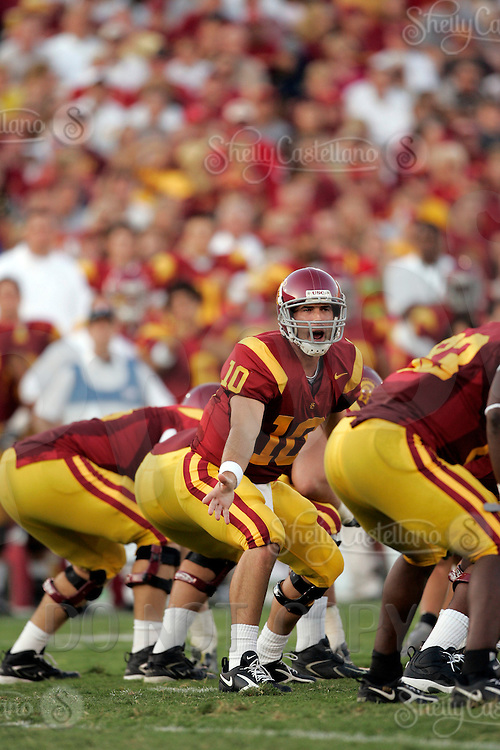 16 September 2006: #10 John David Booty starting quarterback in action yelling plays at the line of scrimmage during  the USC Trojans college football home opener against the Nebraska Cornhuskers with a 28-10 win over the Big-12 team at the Los Angeles Memorial Coliseum in CA.