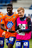 1. divisjon fotball 2018: Aalesund - Mjøndalen. Aalesunds Pape Gueye (t.v.) og Emil Solnørdal etter førstedivisjonskampen i fotball mellom Aalesund og Mjøndalen på Color Line Stadion.
