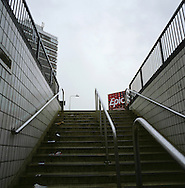 A stairway at the entrance of Lime Street station, the principal railway station in Liverpool on the river Mersey. The Mersey is a river in north west England which stretches for 70 miles (112 km) from Stockport, Greater Manchester, ending at Liverpool Bay, Merseyside. For centuries, it formed part of the ancient county divide between Lancashire and Cheshire.