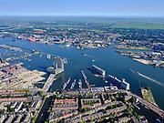 Nederland, Noord-Holland, Gemeente Amsterdam; 02-09-2020; Zeeheldenbuurt en Oude Houthaven, zicht op het IJ met De Pontsteiger. Links Amsterdam. Zicht op het IJ en Amsterdam-Noord: IJ-oevers, Buiksloterham, NDSM-terrein.<br /> Zeeheldenbuurt and Oude Houthaven, view of the IJ with De Pontsteiger. Left Amsterdam. View of the IJ and Amsterdam-Noord: IJ banks, Buiksloterham, NDSM terrain.<br /> <br /> luchtfoto (toeslag op standaard tarieven);<br /> aerial photo (additional fee required)<br /> copyright © 2020 foto/photo Siebe Swart