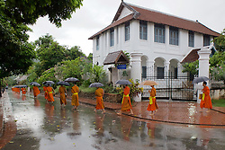 Monks Lined Up To Receive Food