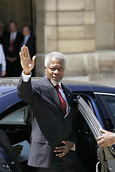 File Photo - Secretary-General of the United Nations, Kofi Annan, leaves the Elysee Palace after the United Nations seminar to highlight the so-called 'global compact' between the worlds of business and politics in Paris, on June 14, 2005. Kofi Annan, the former UN secretary-general who won the Nobel Peace Prize for humanitarian work, has died aged 80, his aides say. Photo by Mousse/ABACA.