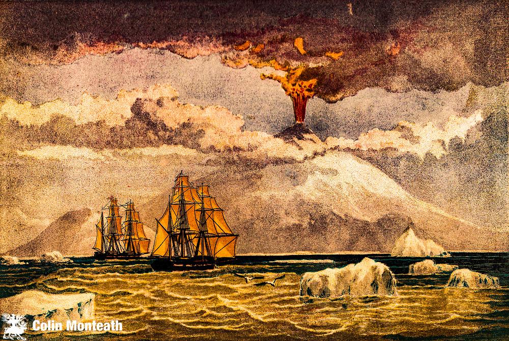 James Clark Ross's ships Erebus and Terror discover the active volcano Mt Erebus 1841, Ross Island, Ross Sea, Antarctica.