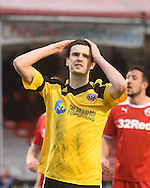 Jamie Murphy shows his frustration after Sheffield United miss another late chance during the Sky Bet League 1 match between Crawley Town and Sheffield Utd at Broadfield Stadium, Crawley, England on 28 February 2015. Photo by David Charbit.