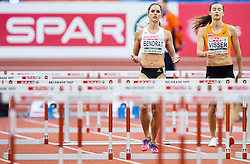 Stephanie Bendrat of Austria and Nadine Visser of Netherlands in the Women's 60 metres Hurdles heats on day one of the 2017 European Athletics Indoor Championships at the Kombank Arena on March 3, 2017 in Belgrade, Serbia. Photo by Vid Ponikvar / Sportida