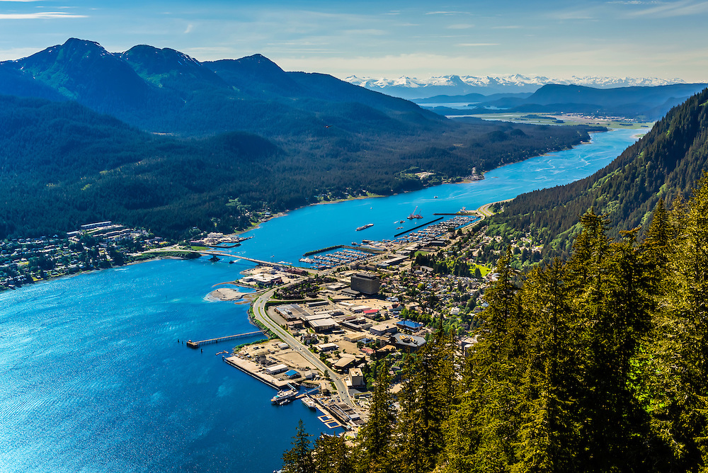 View from the Mt. Roberts Tramway above Juneau, southeast Alaska USA.