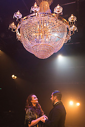 "© Licensed to London News Pictures. 04/08/2015. London, UK. Christine Grimandi  as Elizaveta Grushinskaya and Scott Garnham as Baron Felix von Gaigern. ""Grand Hotel"" opens for a six week run at the Southwark Playhouse from 31 July to 5 September 2015. The 17-strong international cast is led by Italian musical theatre star Christine Grimandi. The show, based on Vicki Baum's Grand Hotel is written by Luther Davis and directed by Thom Southerland, music and lyrics by Geroge Forrest and Robert Wright. Photo credit: Bettina Strenske/LNP"