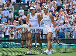LONDON, ENGLAND - Tuesday, July 2, 2019: Angelique Kerber (GBR) (R) and Tatjana Maria (GER) after the Ladies' Singles first round match on Day Two of The Championships Wimbledon 2019 at the All England Lawn Tennis and Croquet Club. (Pic by Kirsten Holst/Propaganda)