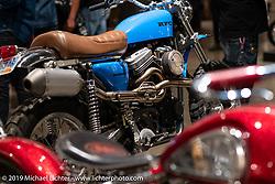 "Randy Rothlisberger's Klock Werks ""Boondoggle"" custom Buell XB9 engine in an an early Evo Sportster-style frame at the Handbuilt Show. Austin, TX. USA. Saturday April 21, 2018. Photography ©2018 Michael Lichter."