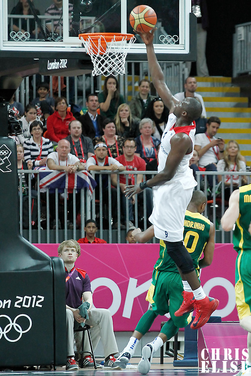 31 July 2012: Luol Deng goes for the layup during 67-62 Team Brazil victory over Team Great Britain, during the men's basketball preliminary, at the Basketball Arena, in London, Great Britain.