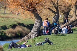 """© Licensed to London News Pictures. 27/02/2021. London, UK. Walkers and cyclists rest in the sunshine in Richmond Park, South West London this afternoon as weather forecasters predict a mild and sunny weekend. This week, Prime Minister Boris Jonson announced his """"Roadmap Map' out of Lockdown with a gradual unlocking of Covid-19 restrictions over the next few months. Photo credit: Alex Lentati/LNP"""