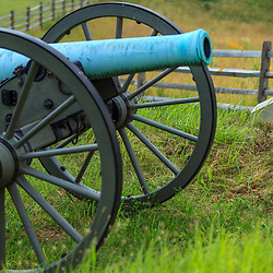 Gettysburg, PA, USA - June 30, 2013: One of the many cannons on display on the Battlefield of Gettysburg.