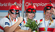 Amsterdam. NETHERLANDS.  GER W4X Gold Medalist: Bow. Annekatrin THIELE, Carina BAER, Julia<br /> LIER and Lisa SCHMIDLA, Gold  Medalist.  Bosbaan Rowing Course. 2014 World Rowing Champions . 14:31:36  Saturday  DATE}  [Mandatory Credit; Peter Spurrier/Intersport-images]