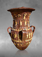 Inandik Hittite relief decorated cult libation vase with four decorative friezes featuring figures coloured in cream, red and black. The processional figures include musicians and acrobats processing to an altar, mid to late 16th century BC - İnandıktepe, Turkey
