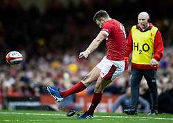 Dan Biggar of Wales converts<br /> <br /> Photographer Simon King/Replay Images<br /> <br /> Six Nations Round 1 - Wales v Italy - Saturday 1st February 2020 - Principality Stadium - Cardiff<br /> <br /> World Copyright © Replay Images . All rights reserved. info@replayimages.co.uk - http://replayimages.co.uk