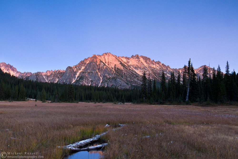 The Earth's shadow behind Kangaroo Ridge after sunset in the North Cascades of the Okanogan-Wenatchee National Forest in Washington State, USA.
