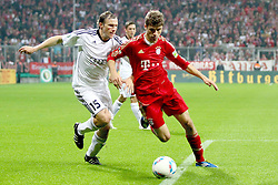 26.10.2011, Allianz Arena, Muenchen, GER, DFB Pokal, 2. Runde, FC Bayern Muenchen vs FC Ingolstadt, im Bild Tobias Fink (Ingolstadt #15) kann Thomas Mueller (Bayern #25) nicht stoppen // during the Pokal fight second Round from GER FC Bayern Muenchen vs FC Ingolstadt , on 2011/10/26, Allianz Arena, Munich, Germany, EXPA Pictures © 2011, PhotoCredit: EXPA/ nph/  Straubmeier       ****** out of GER / CRO  / BEL ******
