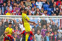 Football - 2021/2022  Premier League - Crystal Palace vs Brentford - Selhurst Park  - Saturday 21st August 2021.<br /> <br /> Ethan Pinnock (Brentford FC) rises highest to head towards the Palace goal at Selhurst Park.<br /> <br /> COLORSPORT/DANIEL BEARHAM