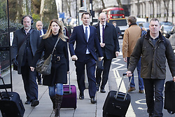 © Licensed to London News Pictures. 03/04/2019. London, UK. Foreign Secretary Jeremy Hunt walks to Parliament. Prime Minister Theresa May has called for talks with Labour Party Leader Jeremy Corbyn to seek a way forward with the Brexit deadlock. Photo credit: Peter Macdiarmid/LNP