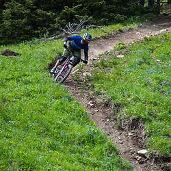 Steve Kovalenko riding T-Dub at Moose Mountain in Alberta, Canada