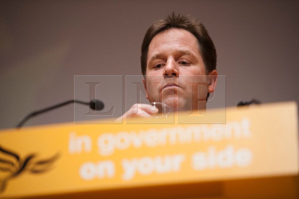 © London News Pictures. 10/03/2012.  Gateshead, UK. Liberal Democrat leader NICK CLEGG speaking at a questions and answers session on day 2 of the Liberal Democrat Spring conference at the Sage AGteshaed on March 10th, 2012. Photo credit : Ben Cawthra/LNP