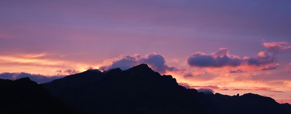 Sunset behind Justadtind mountain peak, Stamsund, Vestvagoy, Lofoten islands, Norway
