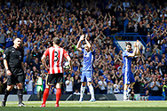 Chelsea Defender John Terry (26) gets an emotional send off when he gets subbed off after 26th minute  during the Premier League match between Chelsea and Sunderland at Stamford Bridge, London, England on 21 May 2017. Photo by Andy Walter.