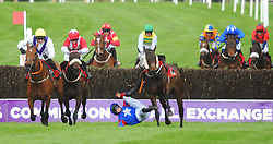 Moyhenna and Denis Hogan (left) jump the 2nd last to win the Glencarrig Lady Mares Handicap Steeplechase from Timeforwest and Darragh O'Keeffe (left) as Ellie Mac and Rachael Blackmore part company during day four of the Punchestown Festival at Punchestown Racecourse, County Kildare, Ireland.