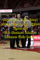 14 February 2016: Referees Don Daily, Jeff Malham and Gerry Pollard during the Illinois State Redbirds v Bradley Braves at Redbird Arena in Normal Illinois (Photo by Alan Look)