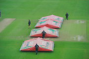 The covers going back on over the wicket before the Specsavers County Champ Div 1 match between Somerset County Cricket Club and Middlesex County Cricket Club at the Cooper Associates County Ground, Taunton, United Kingdom on 26 September 2017. Photo by Graham Hunt.