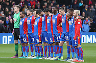 Crystal Palace players stand for a minutes silence in respect for the victims of the Croydon Tram disaster. Premier League match, Crystal Palace v Manchester city at Selhurst Park in London on Saturday 19th November 2016. pic by John Patrick Fletcher, Andrew Orchard sports photography.