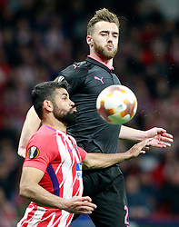 Atletico de Madrid's Diego Costa (l) and Arsenal FC's Calum Chambers during Europa League semi-final, second leg in Madrid, Spain, May 3, 2018. Atletico won 1-0 and reaches the final. Photo by Acero/Alterphotos/ABACAPRESS.COM