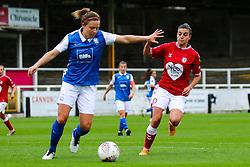 Chloe Logarzo of Bristol City Women presses the ball- Mandatory by-line: Will Cooper/JMP - 18/10/2020 - FOOTBALL - Twerton Park - Bath, England - Bristol City Women v Birmingham City Women - Barclays FA Women's Super League