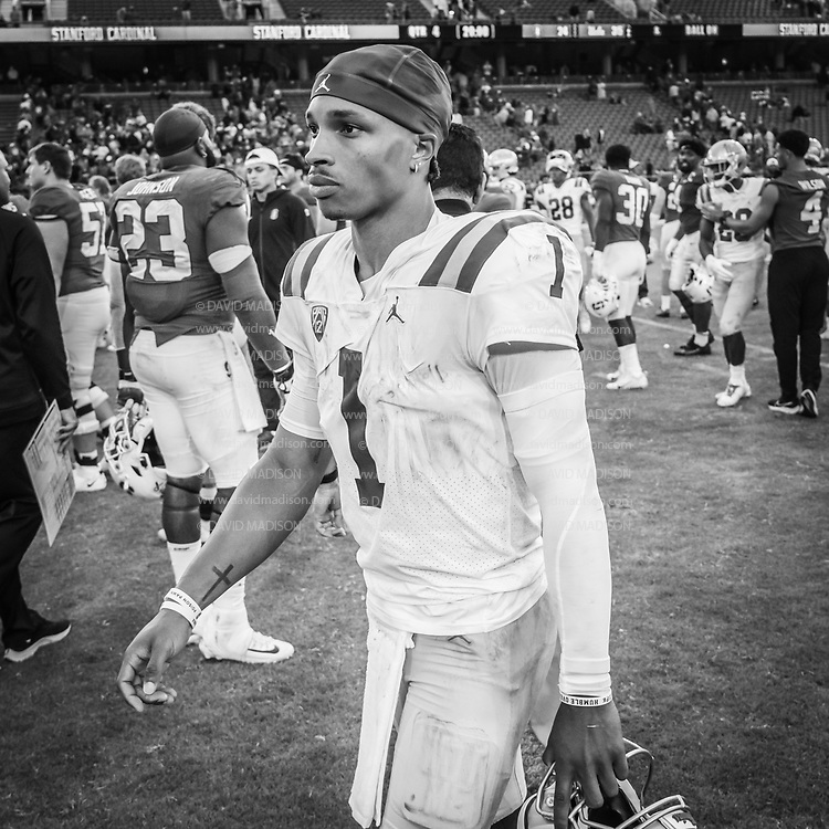 PALO ALTO, CA - SEPTEMBER 26:  Dorian Thompson-Richardson #1 of the UCLA Bruins leaves the field after an NCAA Pac-12 college football game against the Stanford Cardinal on September 26, 2021 at Stanford Stadium in Palo Alto, California.  (Photo by David Madison/Getty Images)