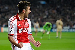 02.11.2011, Amsterdam ArenA, Amsterdam, NED, UEFA CL, Ajax vs Dinamo Zagreb, im Bild Miralem Sulejmani score the 2-0 during UEFA Champions League match between AFC Ajax and Dinamo Zagreb at  statium Amsterdam ArenA in Amsterdam Netherlands on 02/11/2011..EXPA Pictures © 2011, PhotoCredit: EXPA/ nph/   Ronald Hoogendoorn .+++++ ATTENTION - OUT OF NETHERLANDS +++++       ****** out of GER / CRO  / BEL ******