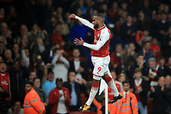 25 September 2017 -  Premier League - Arsenal v West Bromwich Albion - Alexandre Lacazette of Arsenal celebrates scoring the opening goal - Photo: Marc Atkins/Offside