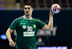 Nassim Bellahcene of Algeria during handball match between National Teams of Algeria and Germany at Day 3 of IHF Men's Tokyo Olympic  Qualification tournament, on March 14, 2021 in Max-Schmeling-Halle, Berlin, Germany. Photo by Vid Ponikvar / Sportida