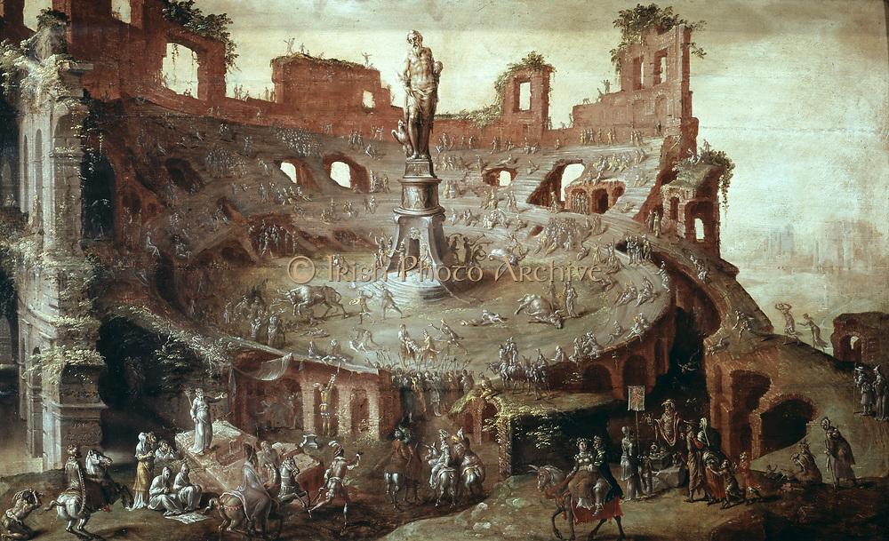 Bullfight in Antique Arena', 1552. Oil on canvas.  Maerten van Heemskerck (1498-1574) Dutch Mannerist painter.