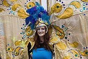 An Extinction Rebellion climate activist wearing a carnival costume takes part in a colourful March for Nature on the final day of their two-week Impossible Rebellion on 4th September 2021 in London, United Kingdom. Extinction Rebellion are calling on the UK government to cease all new fossil fuel investment with immediate effect.