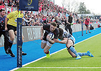 Rugby Union - 2016 / 2017 European Rugby Champions Cup - Quarter-Final: Saracens vs. Glasgow Warriors<br /> <br /> Chris Ashton of Saracens is pushed into touch, just before the try line by Lee Jones of Glasgow at Allianz Park.<br /> <br /> COLORSPORT/ANDREW COWIE