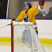 Adnan Mlivic, celebrates after scoring for the Southern Stampede during the Southern Stampede V West Auckland Admirals New Zealand Ice Hockey League match at the Queenstown Ice Arena, Queenstown, South Island, New Zealand, 4th June 2011