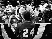 Mariner Ken Griffey who hit his first home run in the Kingdome, greets the fans during the M's opening day. (The Seattle Times, 1989)