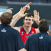 CSKA Moscow's Darjus Lavrinovic celebrate victory (C) during their Euroleague Final Four semi final Game 1 basketball match CSKA Moscow's between Panathinaikos at the Sinan Erdem Arena in Istanbul at Turkey on Friday, May, 11, 2012. Photo by TURKPIX