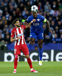Wes Morgan of Leicester City beats Yannick Ferreira Carrasco of Atletico Madrid to a header - Mandatory by-line: Robbie Stephenson/JMP - 18/04/2017 - FOOTBALL - King Power Stadium - Leicester, England - Leicester City v Atletico Madrid - UEFA Champions League Quarter-Final Second Leg
